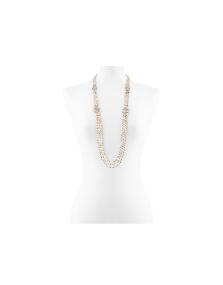 Picture of a multi-strand pearl necklace by Chanel