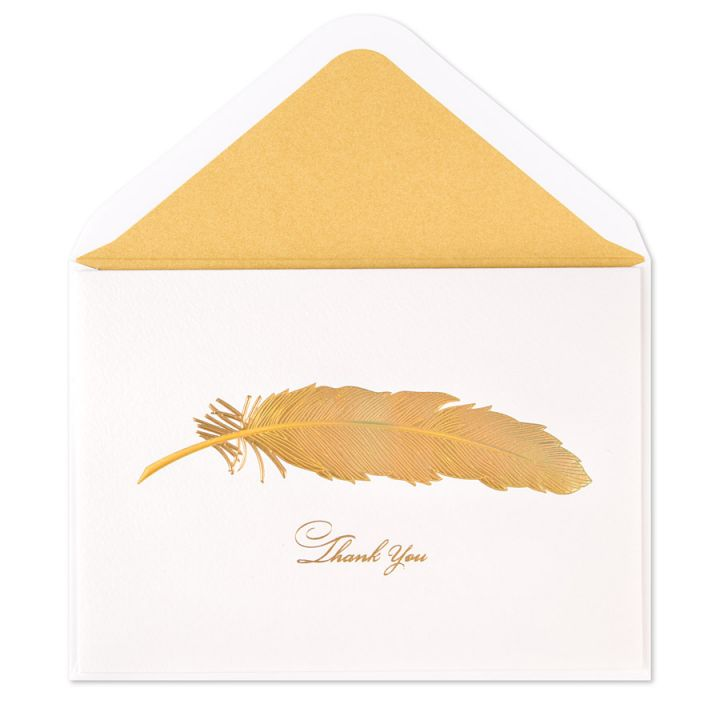 Picture of a gold feather thank you card by Papyrus