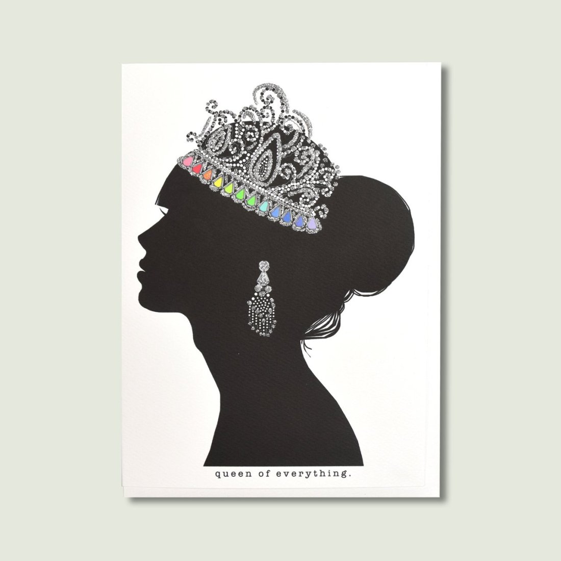 Picture of a card of a queen silhouette wearing a glitter crown by Verrier