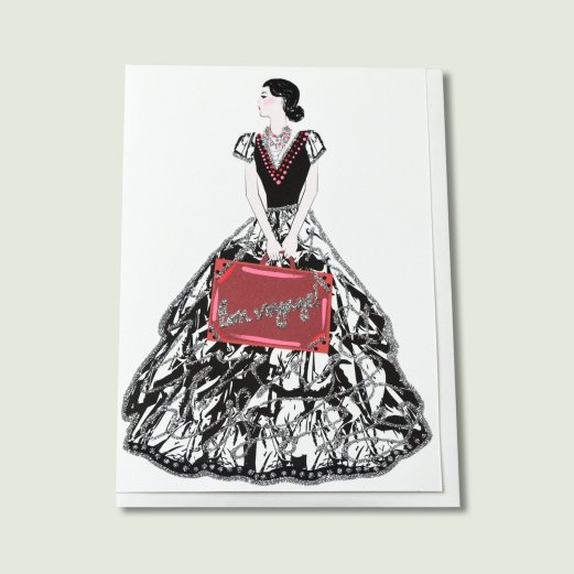 Picture of a card that features a lady carrying a suitcase on a trip