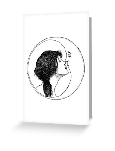 Picture of a card that features a lady kissing the moon