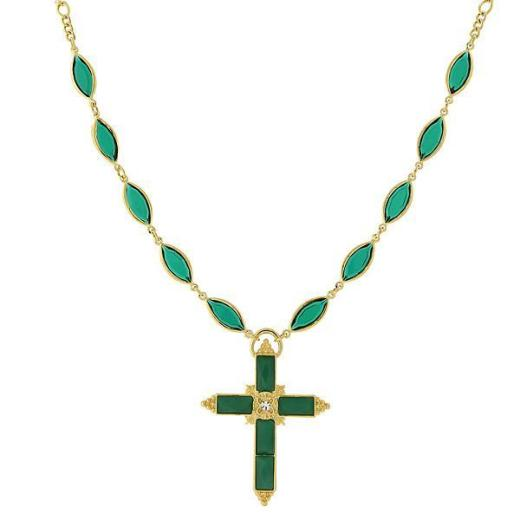 Picture of a green Swarovski crystal cross necklace from 1928 Jewelry