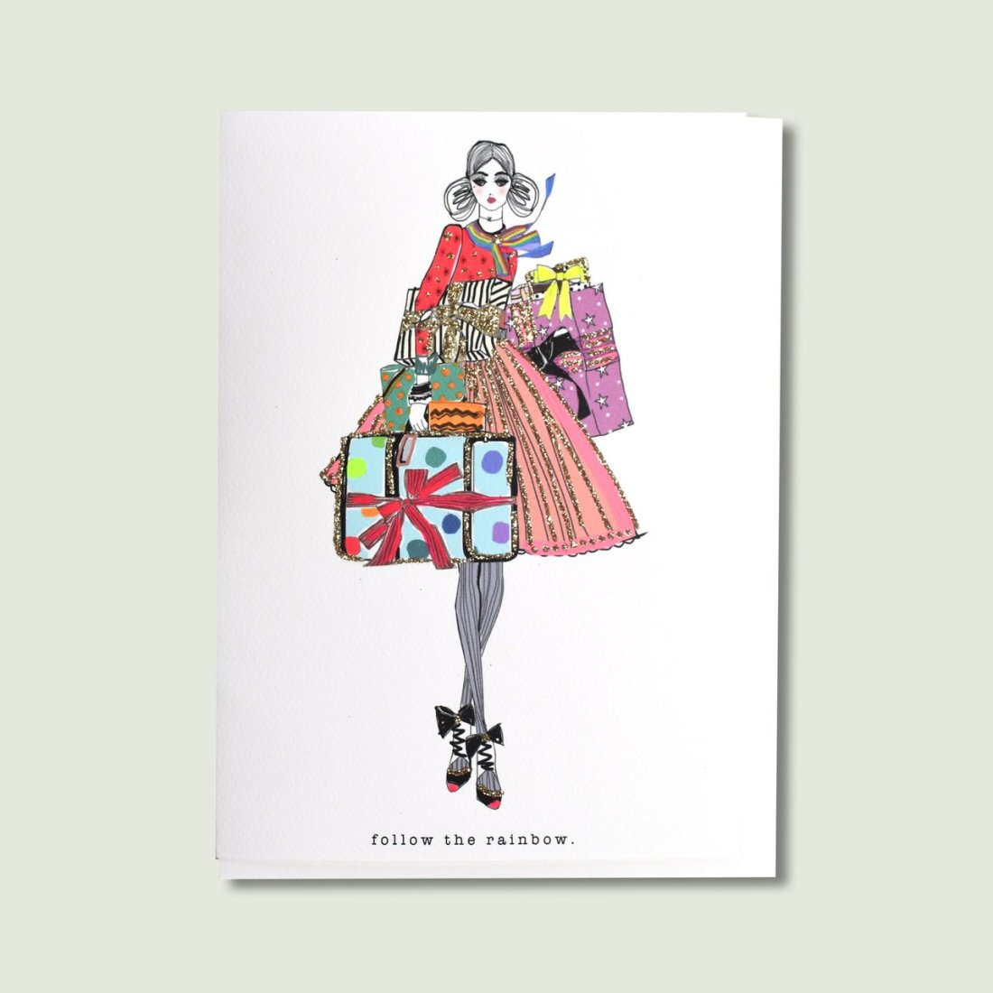 Picture of a Woman Dressed in Rainbow and Gold Glitter on a Card by Verrier