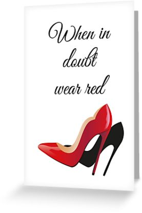 Picture of red and black high heels on a card by ncart on Redbubble