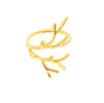 Picture of a 14-karat gold vermeil coral branch-shaped ring by Tidepool Love