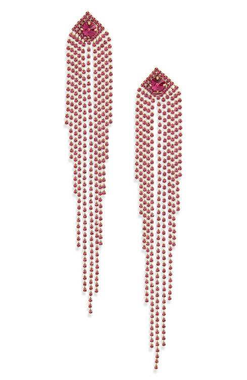 Picture of cascading strands of fuchsia crystal earrings by Natasha