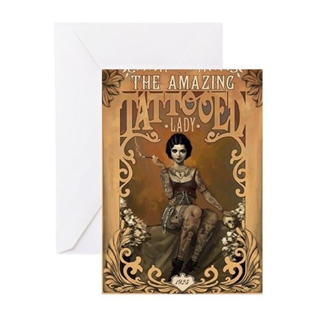 Picture of a tattoo lady on a vintage card by posterbobs on CafePress